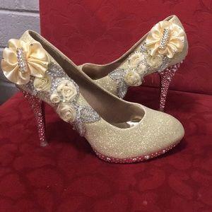 Sparkly Floral Heels -7.5